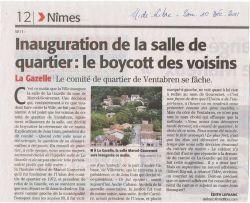 Midi libre du 10/12/2011 - Boycott inauguration salle du quartier