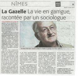Midi Libre du 16 Mars - Soirée conférence à la Gazelle