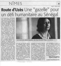 Midi Libre du 2 Février 2010 - La pharmacienne de la Gazelle