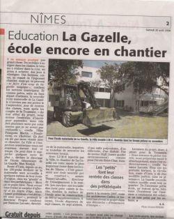 Midi Libre du 30 aout 2008 : école maternelle