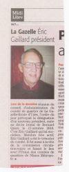 Midi Libre du 15 janvier 2011 : Eric Gaillard Président du comité