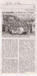 Midi Libre du 3 juin 2009 : la Féria au bar du Chalet